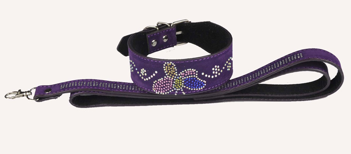 Rhinestone butterfly leather collars